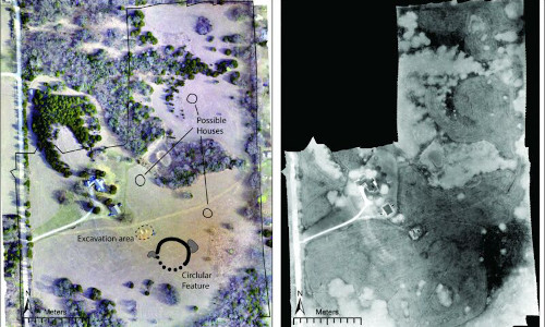 At left, the newly discovered earthwork and a few possible houses are marked on an aerial image of the site. At right, the outline of the circular earthwork is visible in a thermal image.